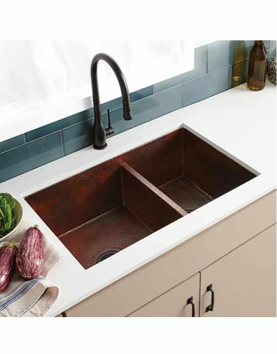 Native Trails - Cocina Duet Double-bowl hammered copper undermount ...